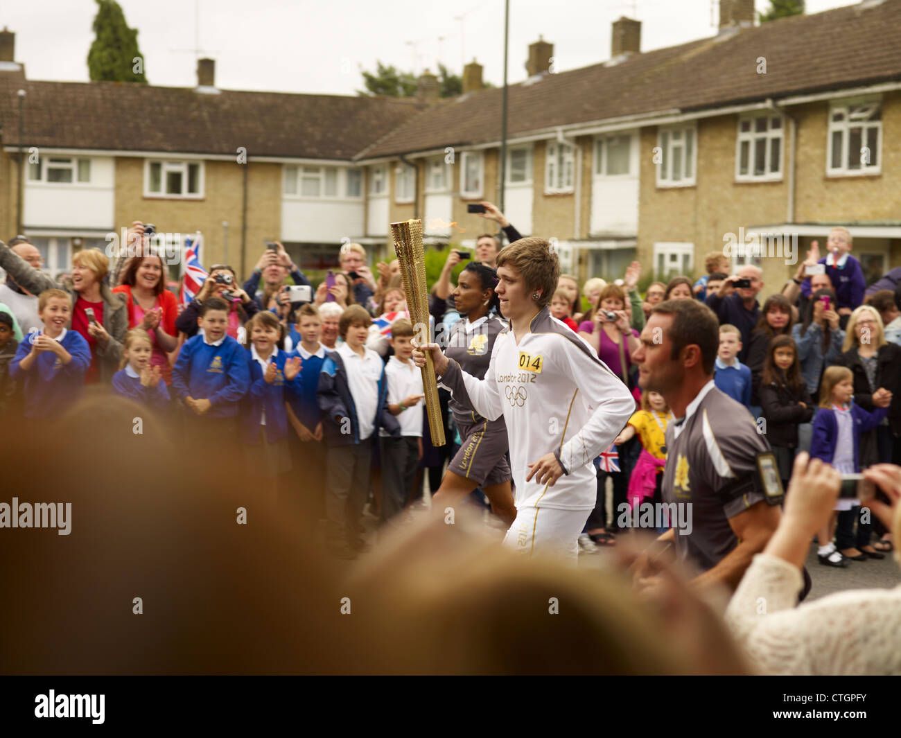 London 2012 Olympic torch relay in Crawley, West Sussex, England, UK - Stock Image
