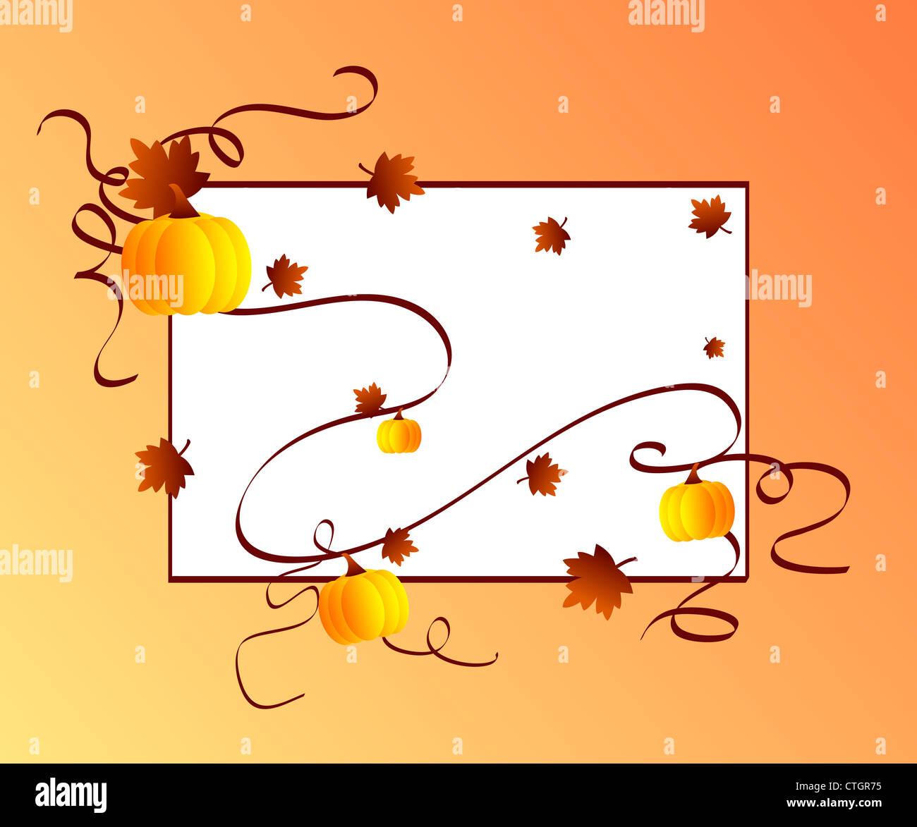Autumn season maple leaves and pumpkins frame Stock Photo