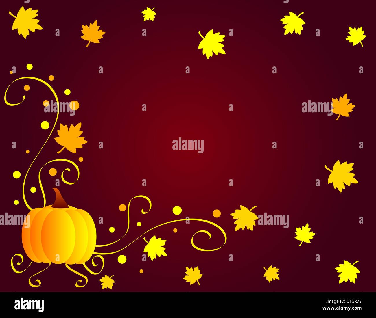 Autumn season maple leaves and pumpkin frame Stock Photo