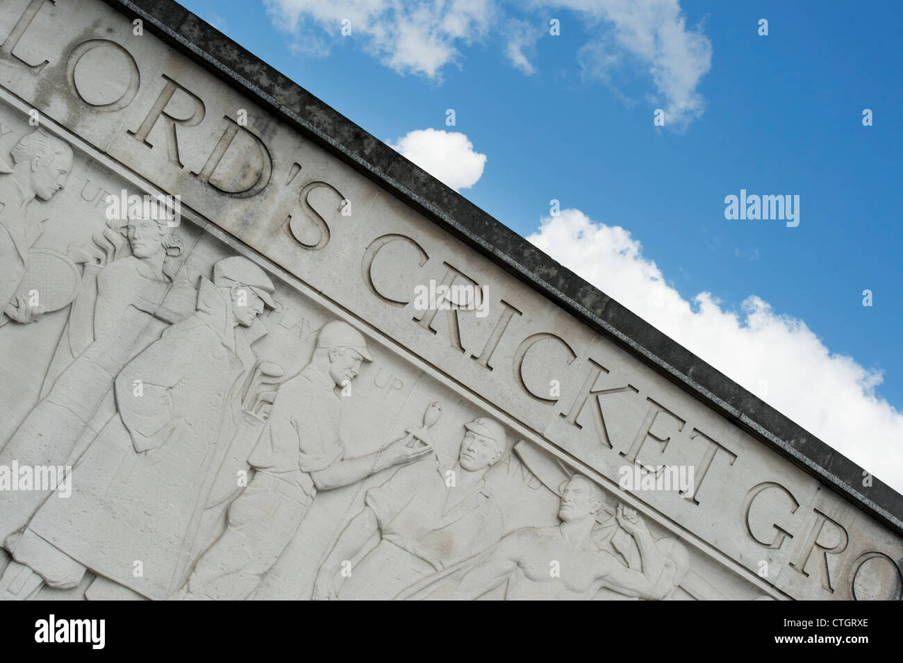 Lords Cricket Ground stone carving - Stock Image