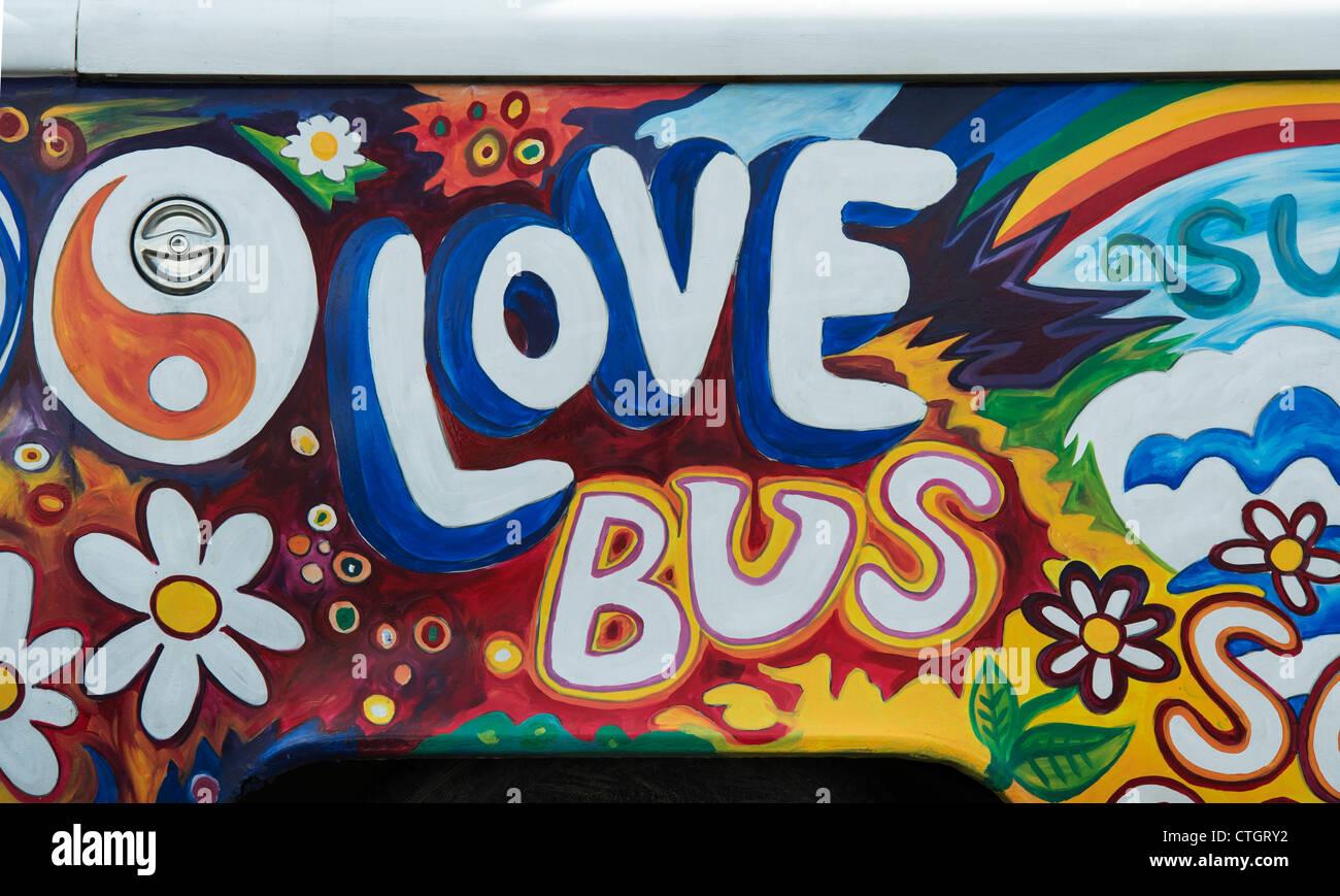 aaccdf35f0 VW Volkswagen camper van painted love bus hippie style - Stock Image