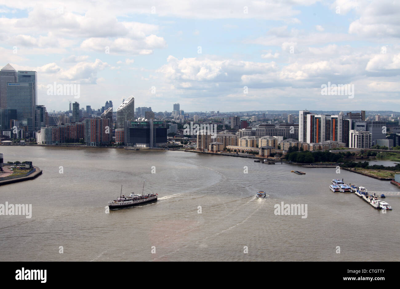 Aerial View of the River Thames from a Cable Car - Stock Image