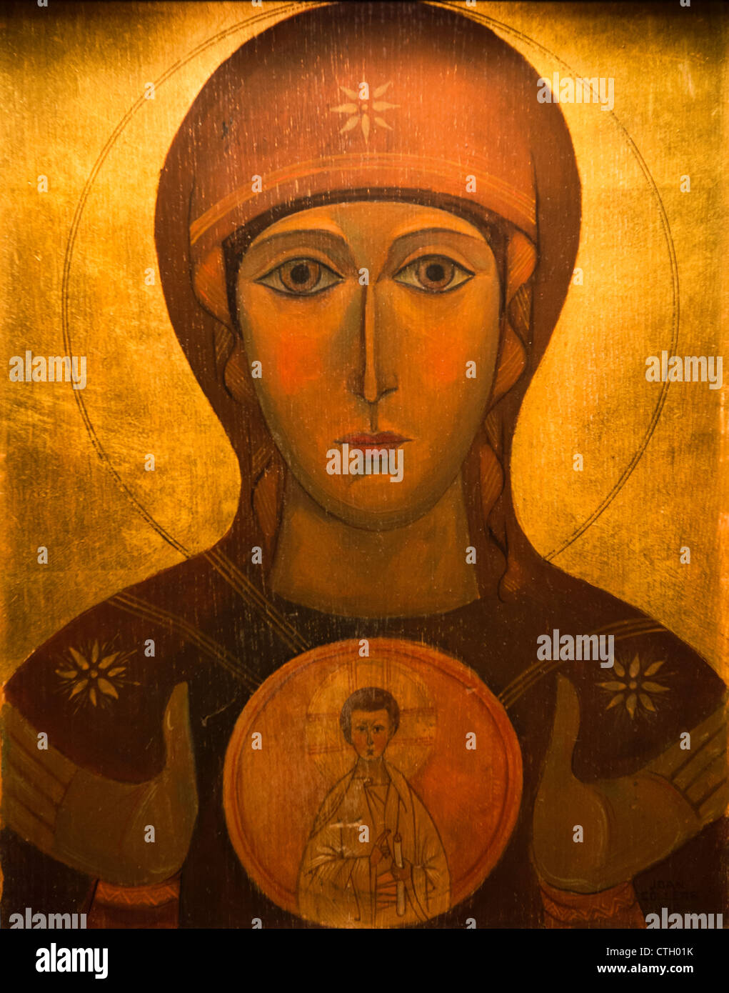 Icon of Mary and Jesus Christ - Stock Image