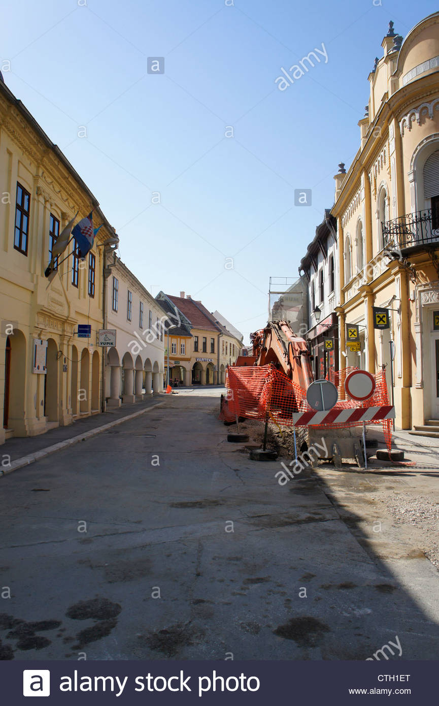 Sreet in Vukovar,Croatia - Stock Image