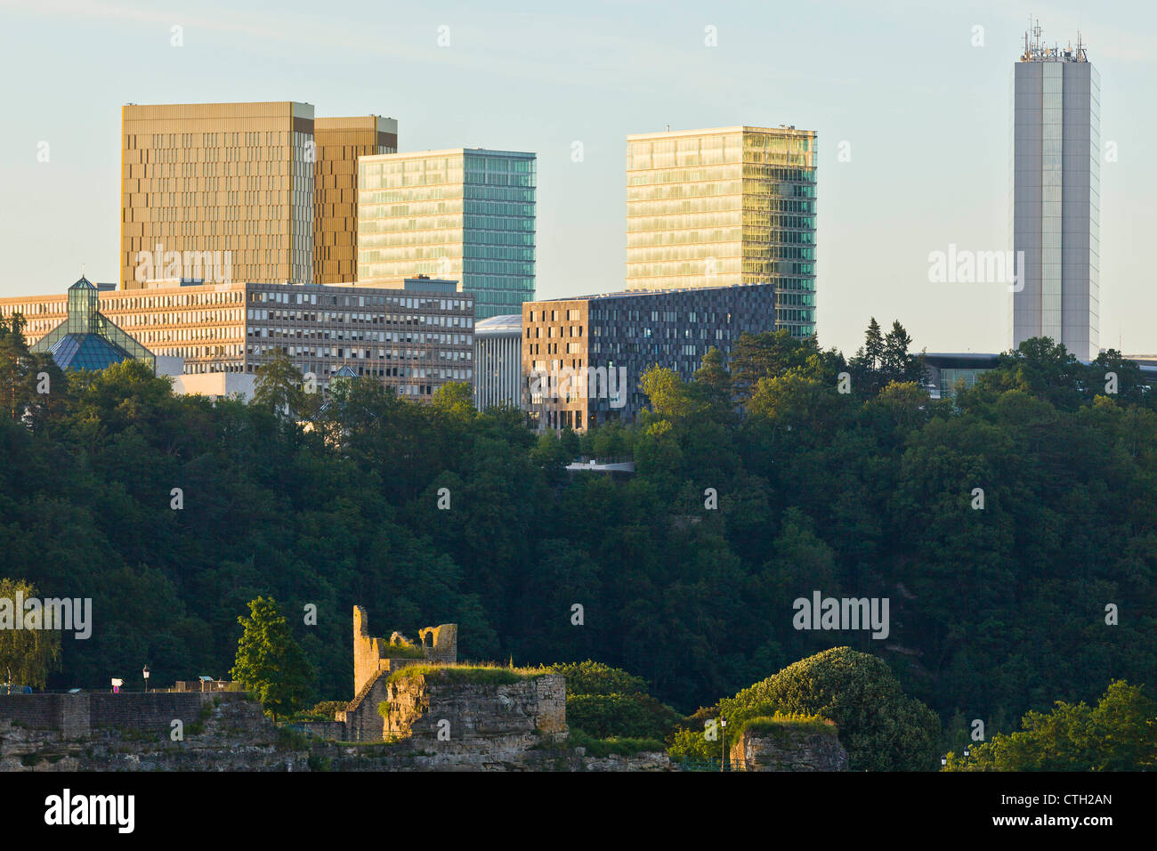 The Bock Rock with above the skyscrapers of Kirchberg. - Stock Image