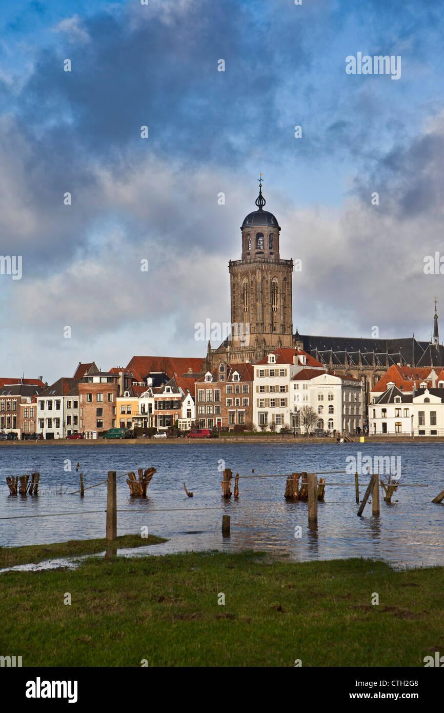 The Netherlands, Deventer, Skyline. Ijssel river. High water. - Stock Image