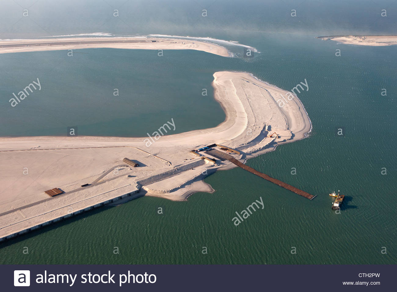 The Netherlands, Rotterdam, Port expansion by claiming land from the sea. Project called Maasvlakte 2. Aerial. - Stock Image