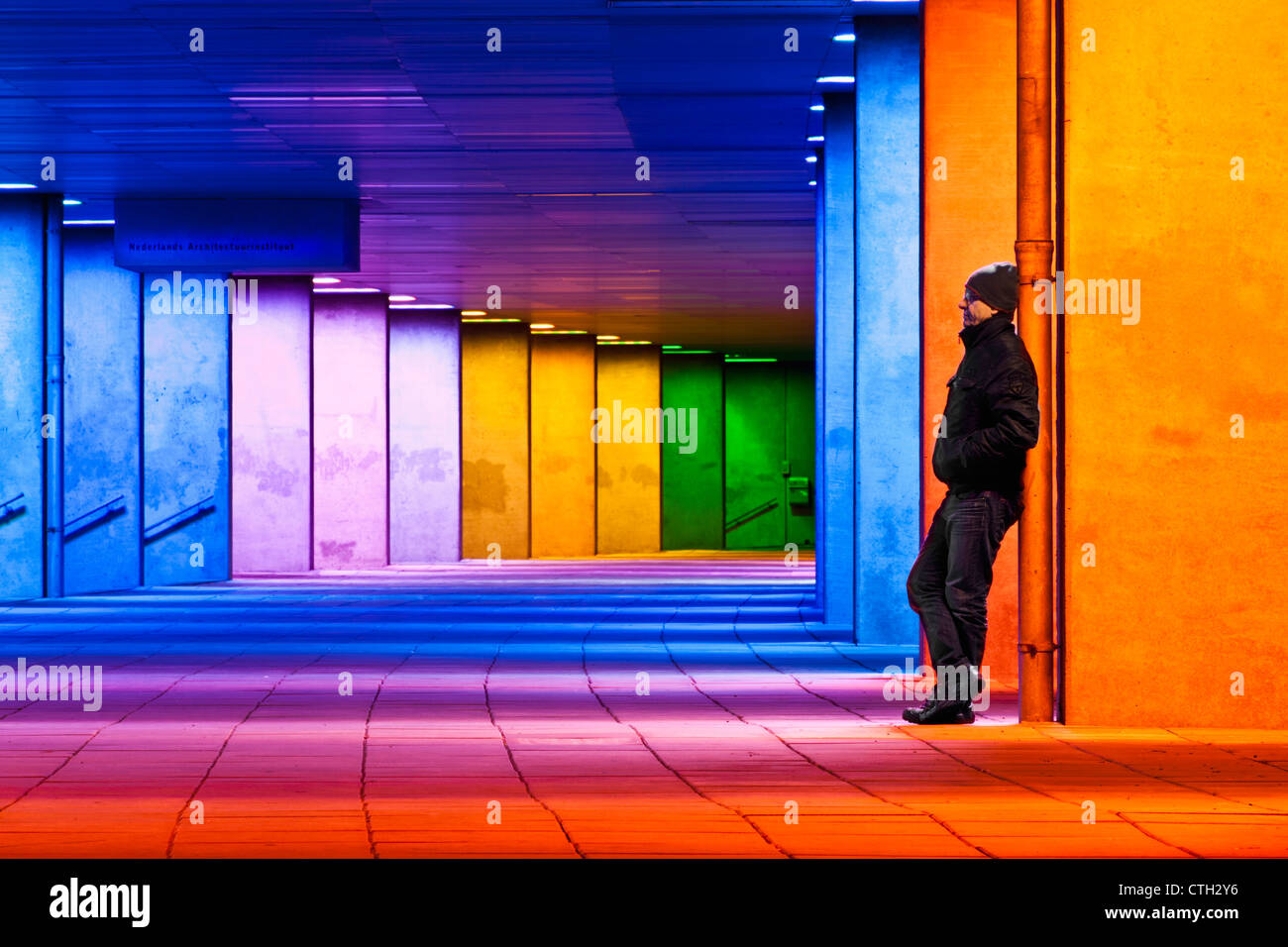 Artwork of changing light (by artist Peter Struycken) in the arcade under the Dutch Institute of Architecture. - Stock Image