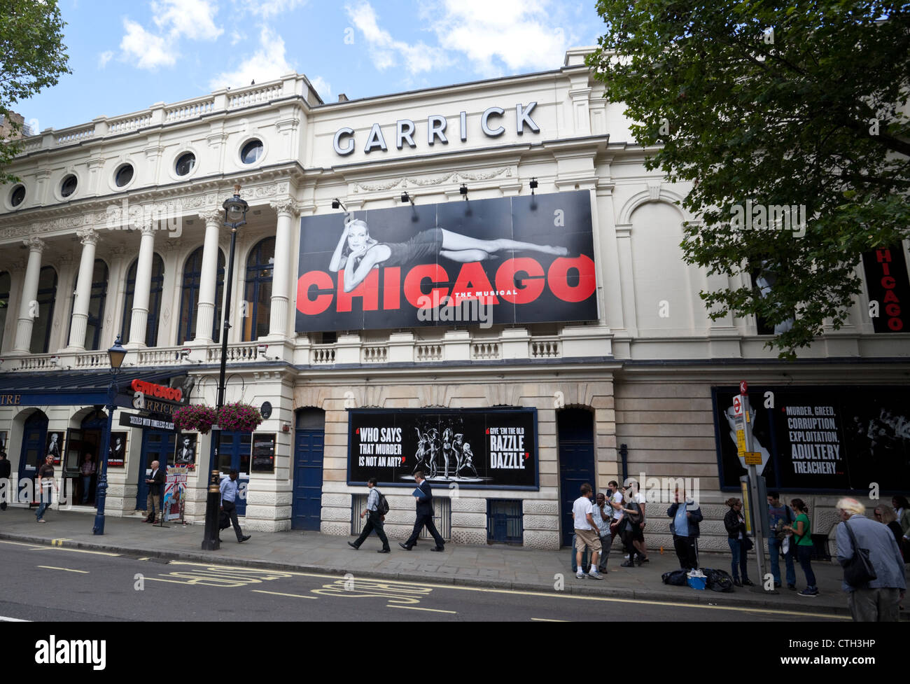 Chicago the Musical billboard at The Garrick Theatre, Charing Cross Road, City of Westminster, London, WC2, England, - Stock Image