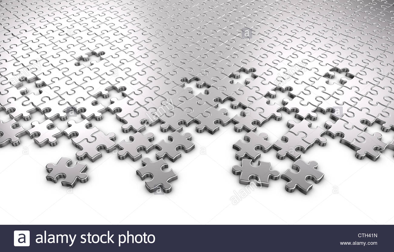 3D Rendered Metal Jigsaw Puzzle Pieces