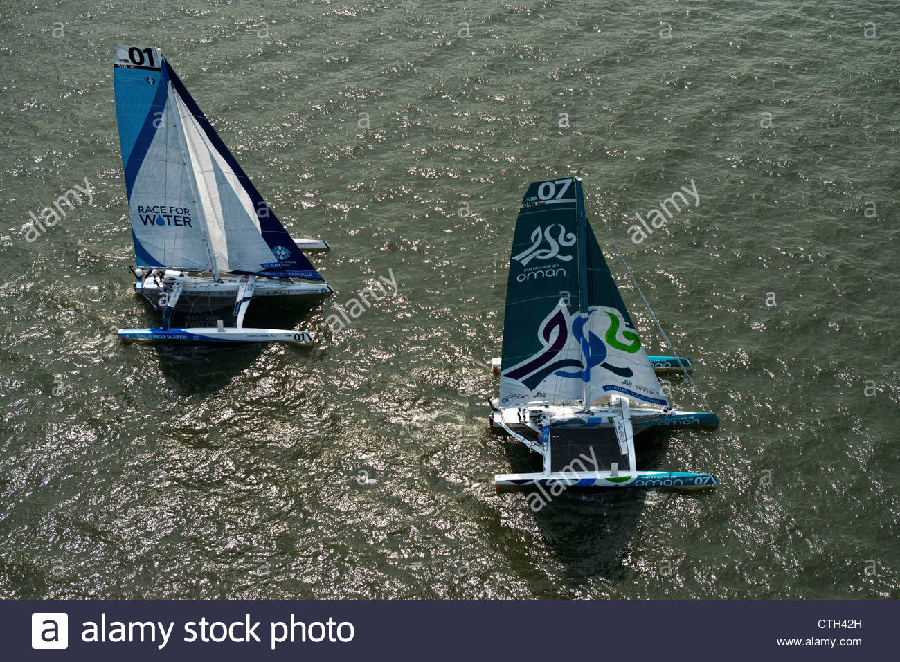 NEW YORK, USA, JULY 7TH 2012: Oman Sail Musandam (MOD70) skippered by Gavignet Sidney from France, and Race for - Stock Image
