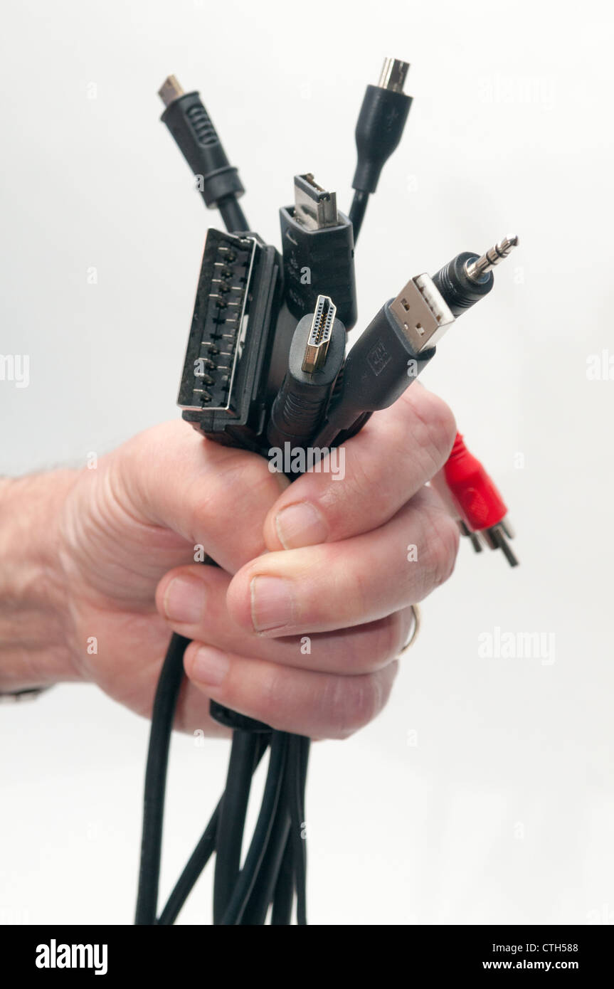 A handful of connections - Stock Image