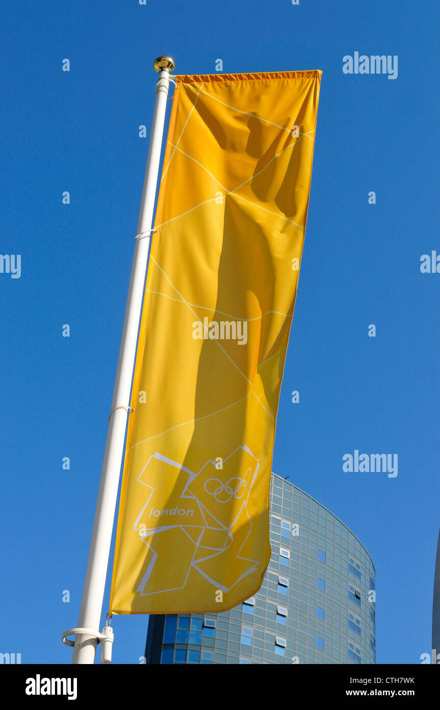2012 Olympic Flag flying in Stratford, London during the 2012 Olympic Games - Stock Image