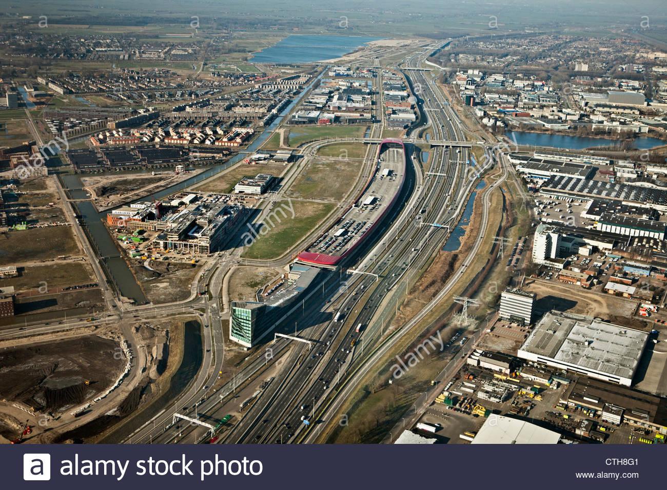 The Netherlands, Utrecht, A2 highway. aerial. - Stock Image
