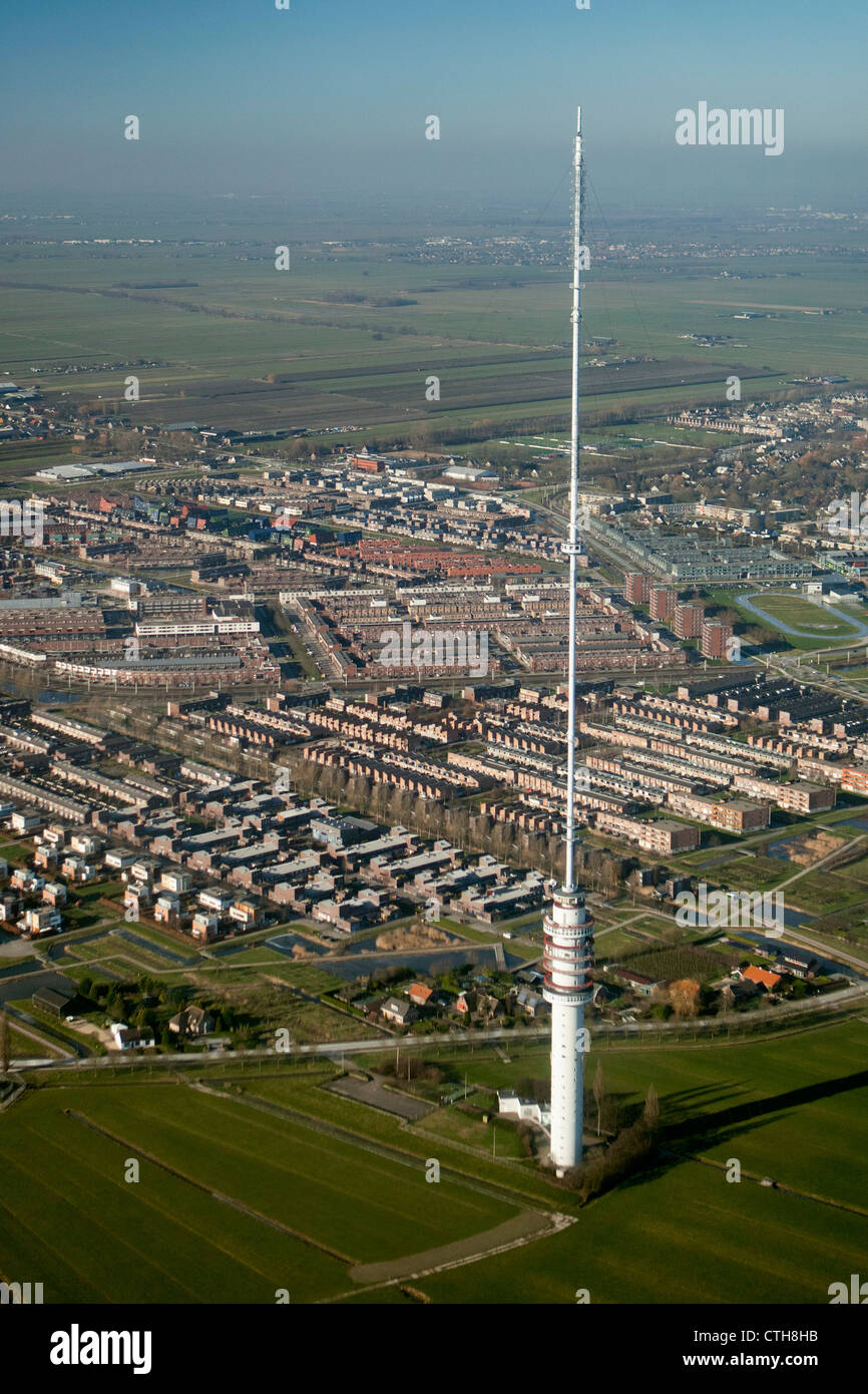 The Netherlands, Ijsselstein, Broadcasting TV tower. Aerial. - Stock Image