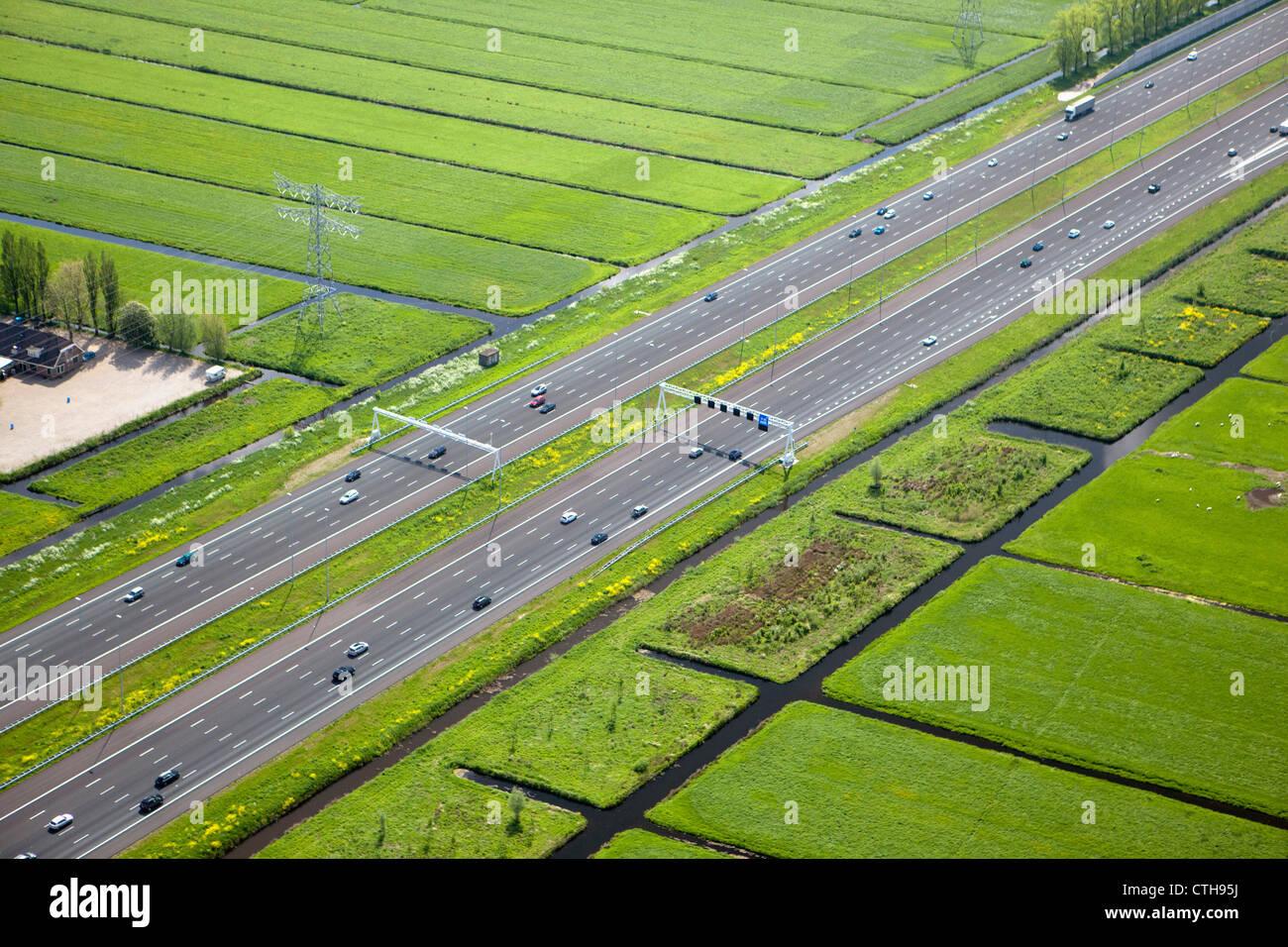 Netherlands, Breukelen, A2 highway. Aerial. - Stock Image