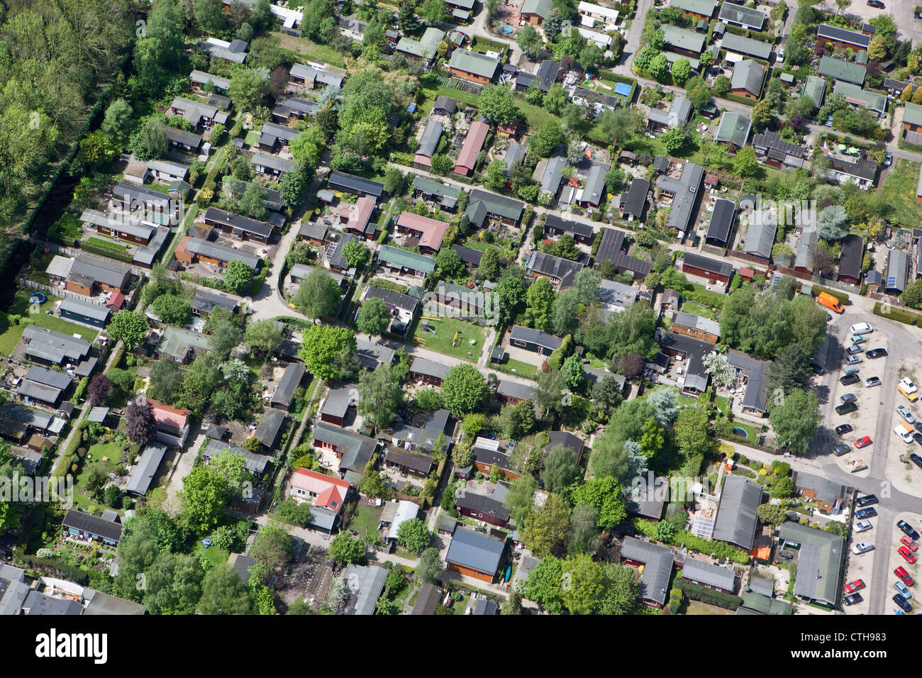 Netherlands, Tienhoven, Holiday houses. Aerial. - Stock Image