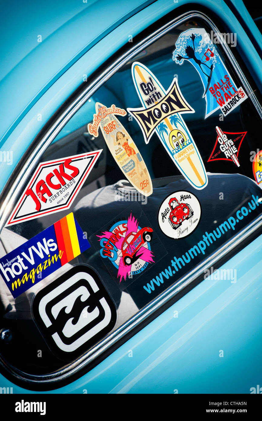 Surfing life style window stickers on an old vw beetle car uk