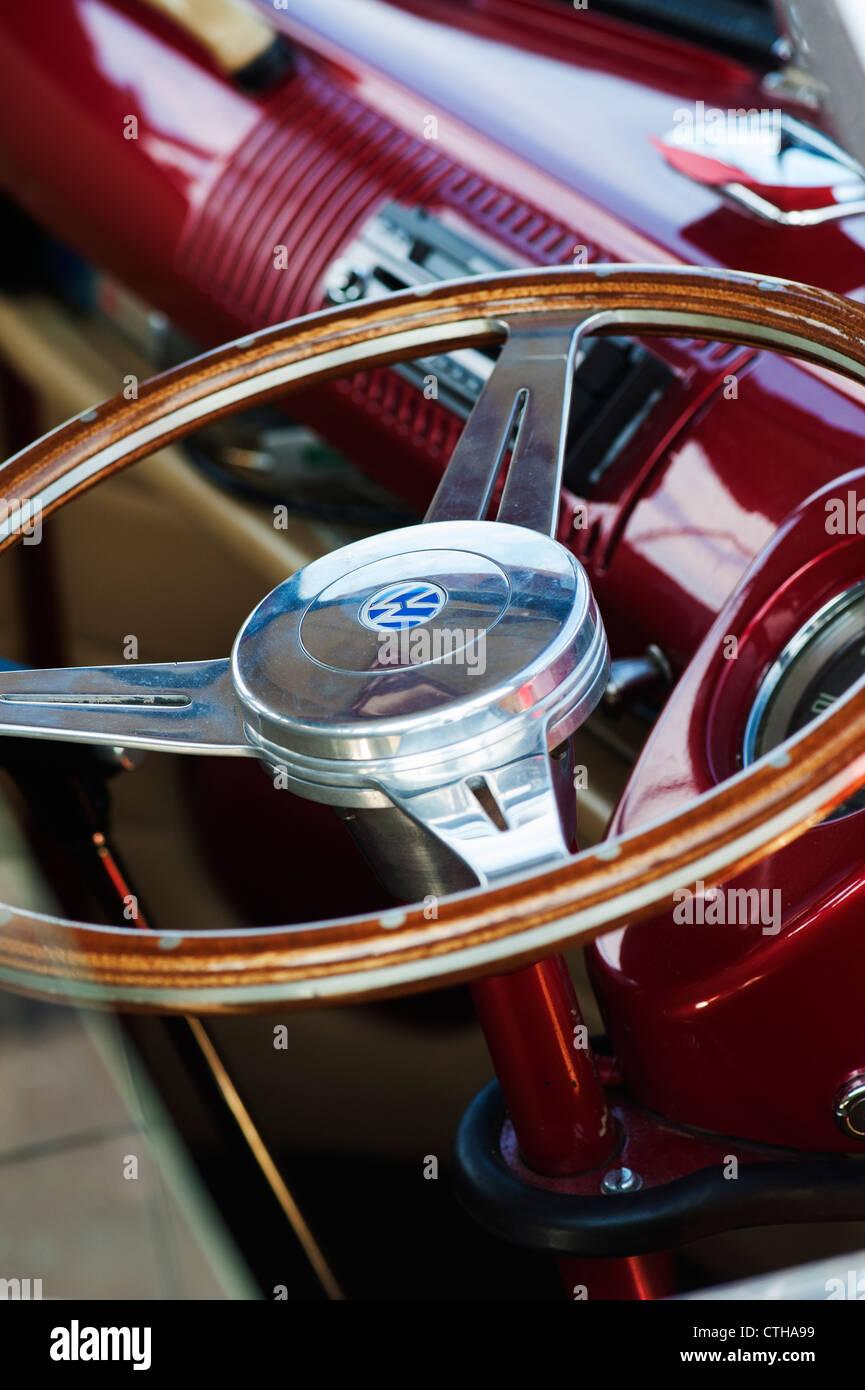 VW Volkswagen camper van wooden steering wheel Stock Photo