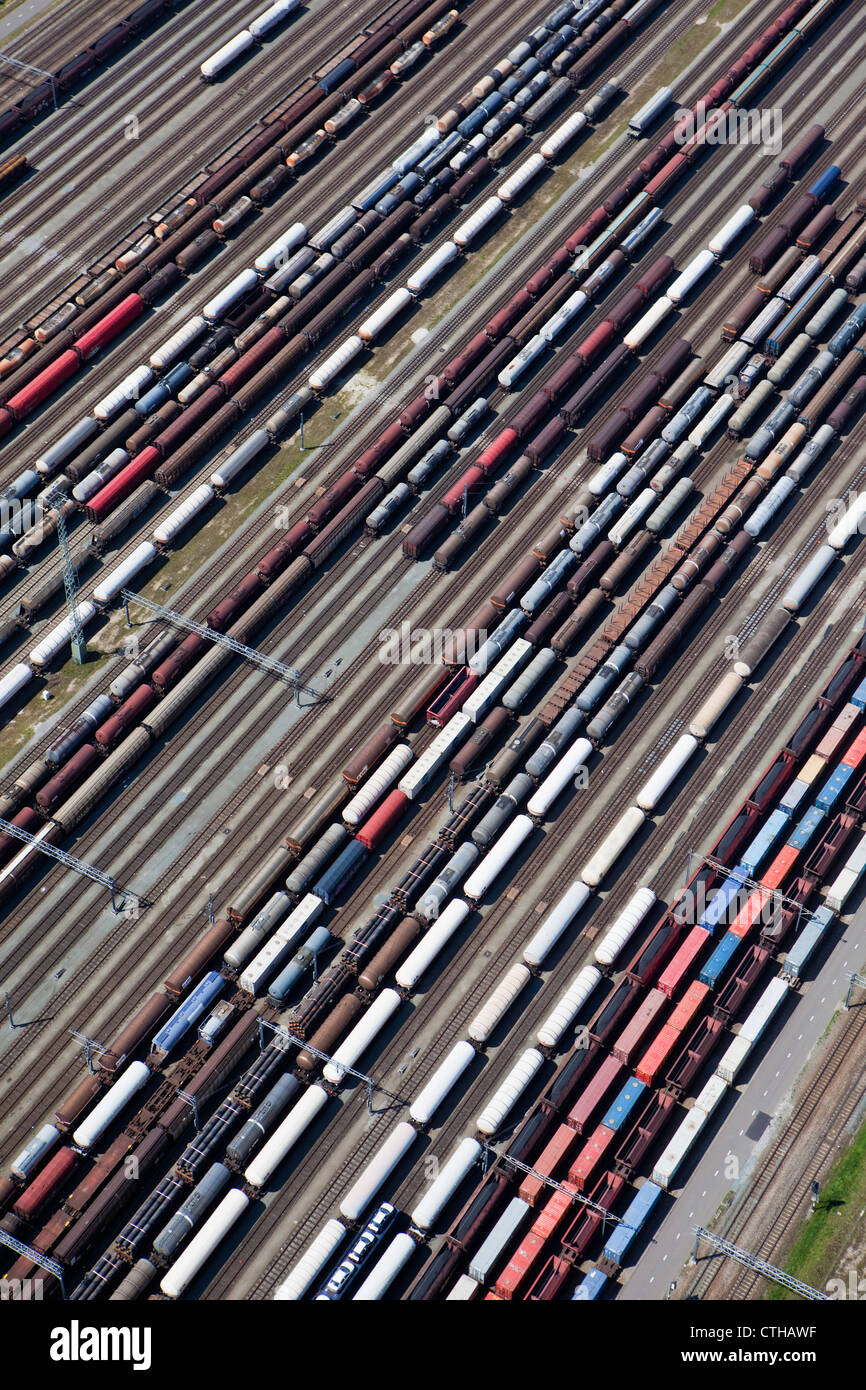 The Netherlands, Zwijndrecht, Train shunting-yard called Kijfhoek. Aerial. - Stock Image