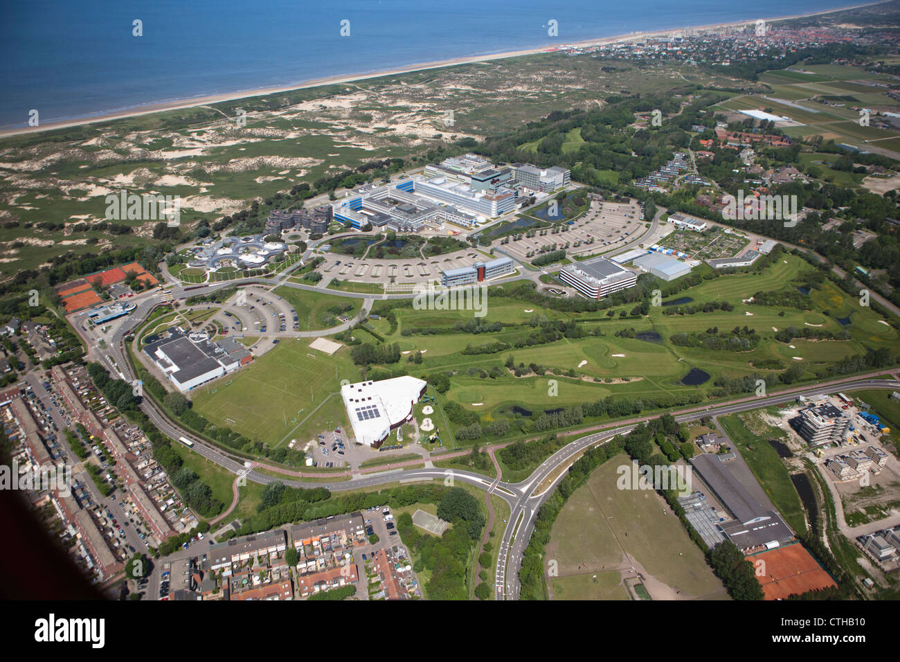 The Netherlands, Noordwijk, European Space Research and Technology Centre. Aerial. Stock Photo