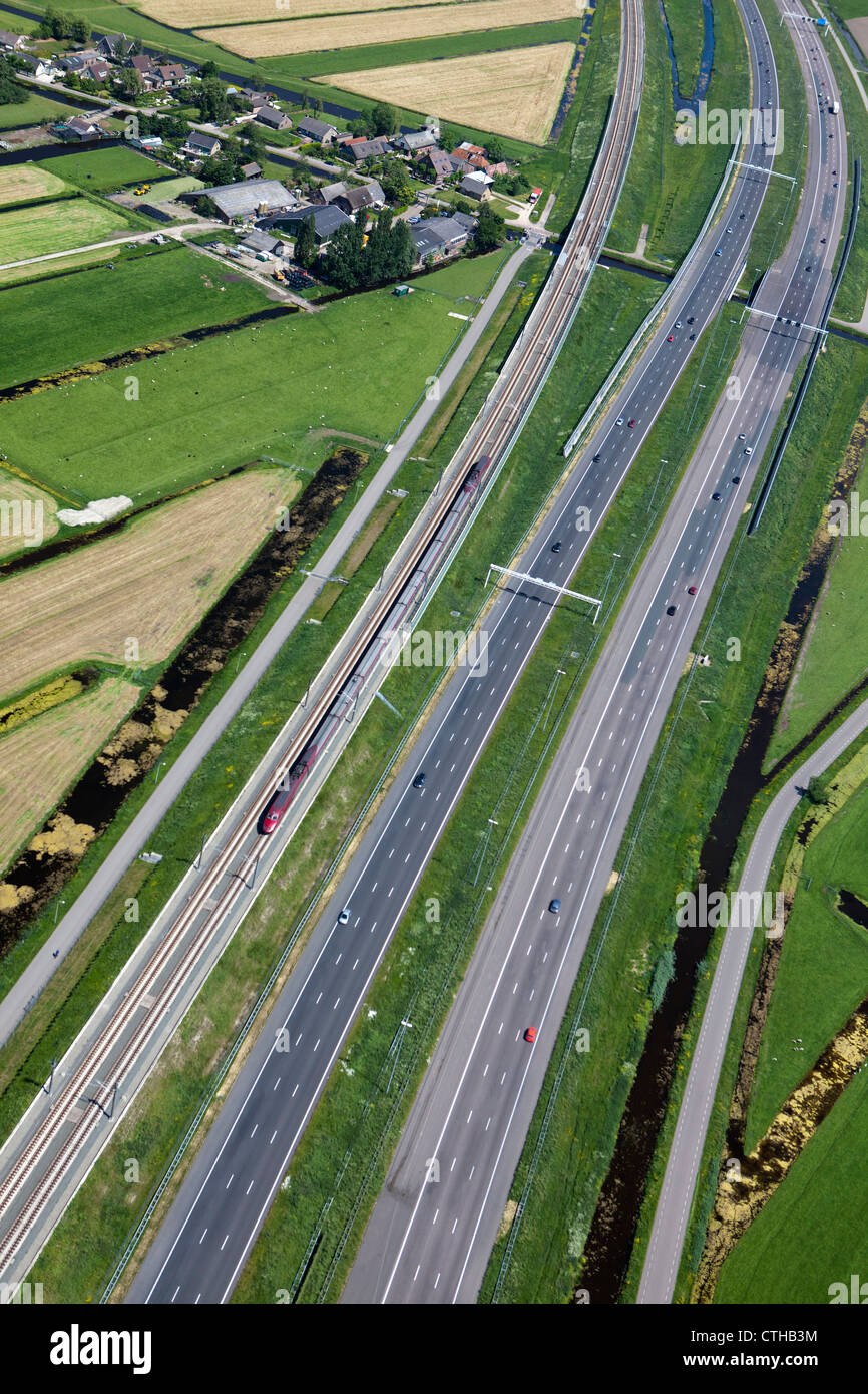 The Netherlands, Roelofarendsveen, Highway A4, and HSL bullet train. Aerial. - Stock Image