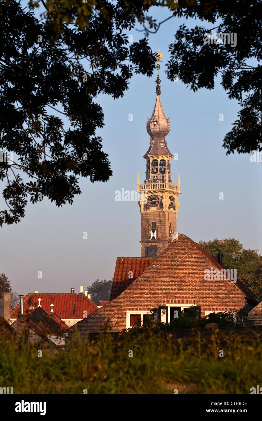 The Netherlands, Veere, Clocktower. - Stock Image