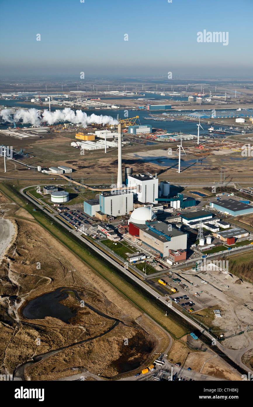 The Netherlands, Borssele, Nuclear power plant. Aerial. - Stock Image