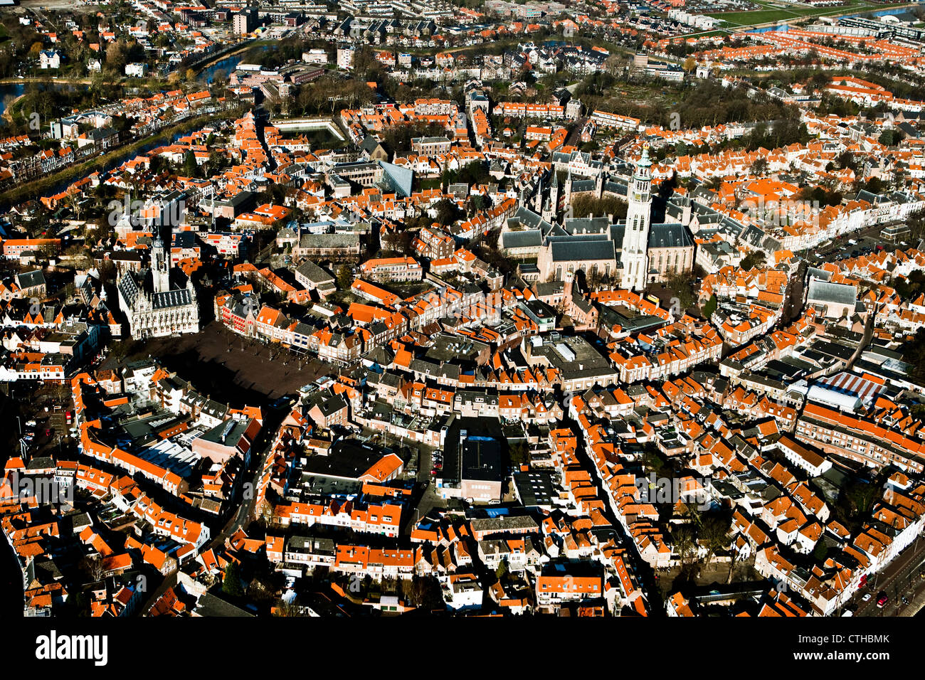 The Netherlands, Middelburg, Aerial of city center. - Stock Image