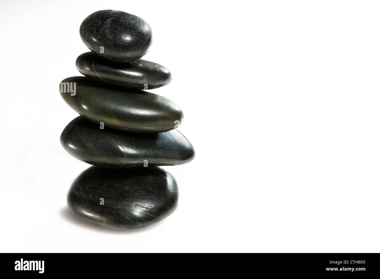 stones balanced isolated on neutral background. - Stock Image