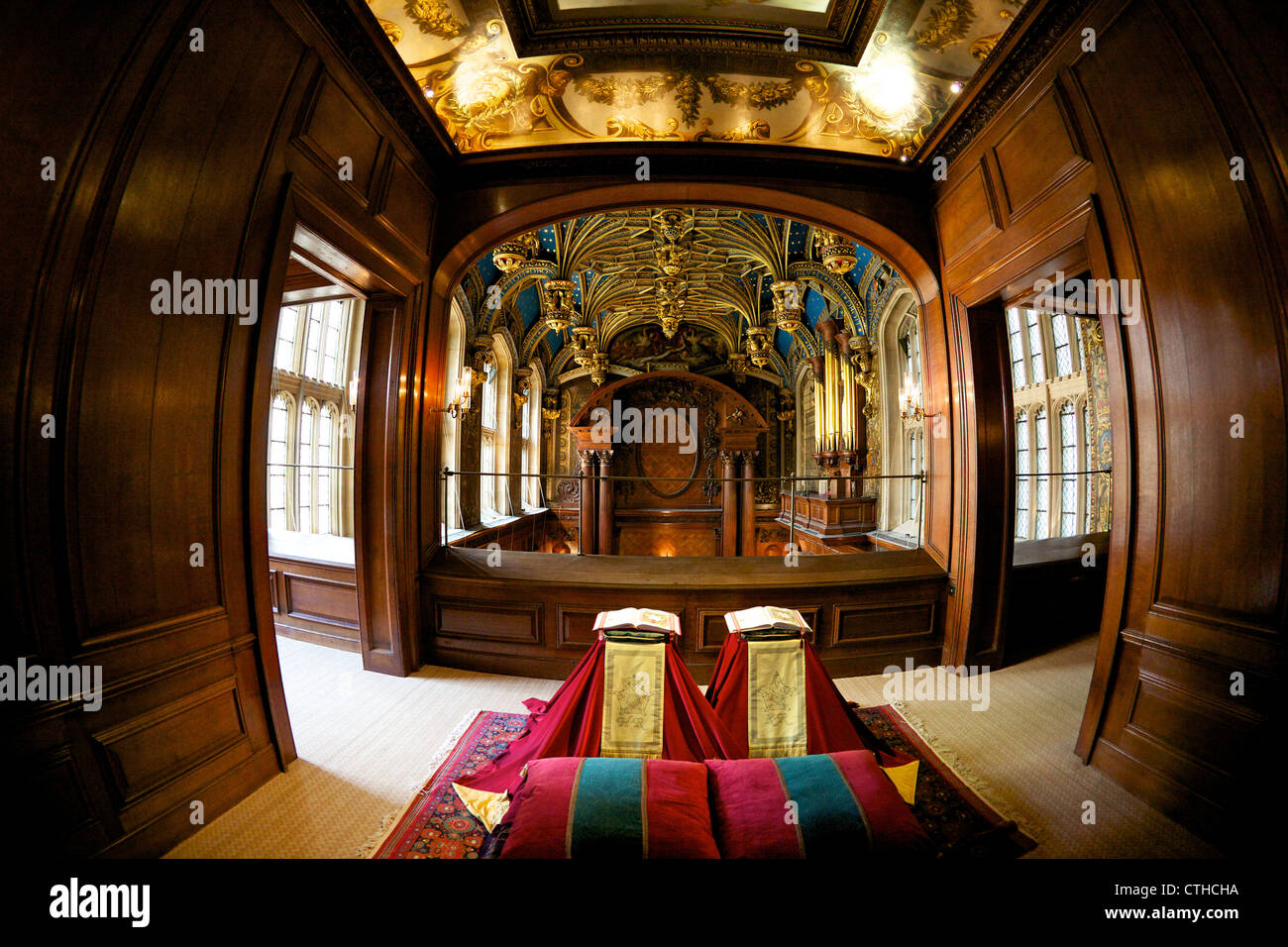 Royal Pew from the 1520's built by Cardinal Wolsey, Chapel Royal, Hampton Court Palace, London, Surrey, England, - Stock Image