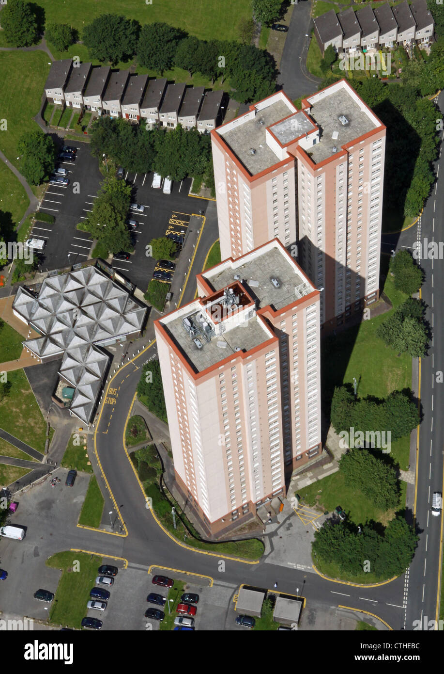 aerial view of council tower blocks in Leeds - Stock Image