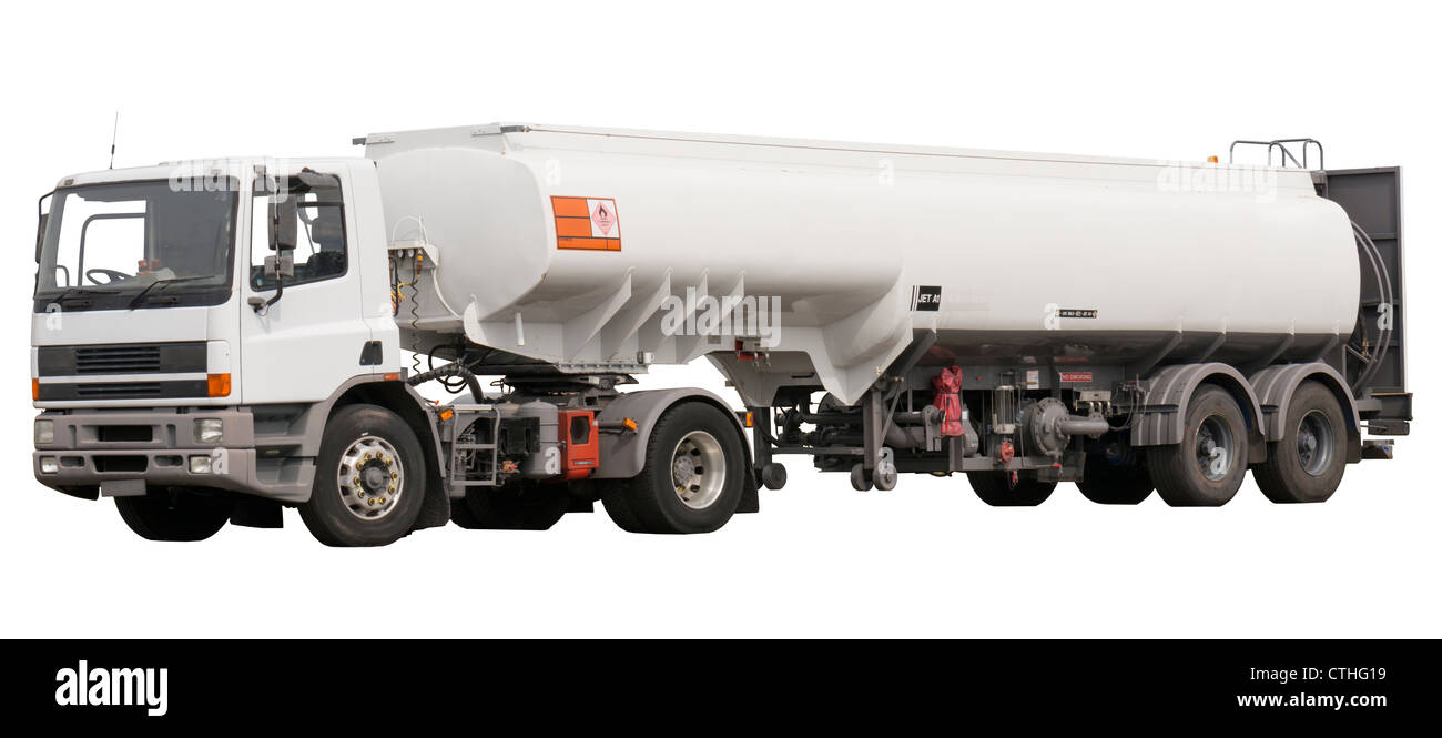 Isolated fuel truck with aviation jet a1 fuel - Stock Image