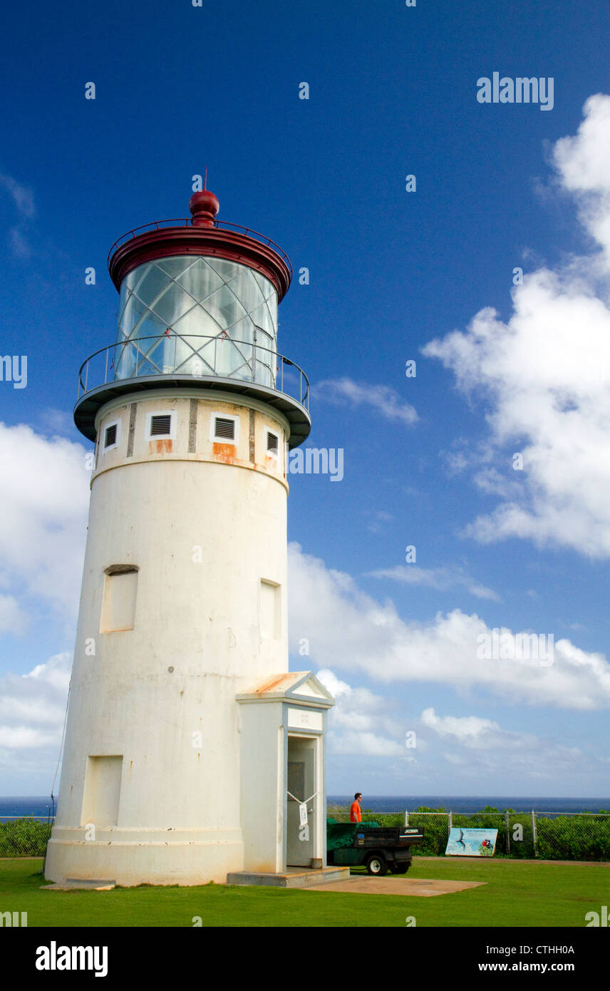 Kilauea Lighthouse located on Kilauea Point on the island of Kauai, Hawaii, USA. - Stock Image
