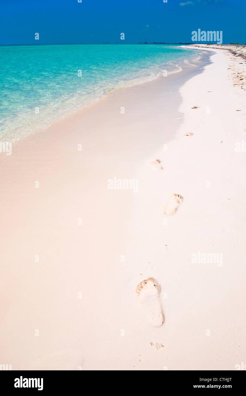 Footprints in the sand, Paradise Beach, Cayo Largo del Sur, Cuba - Stock Image