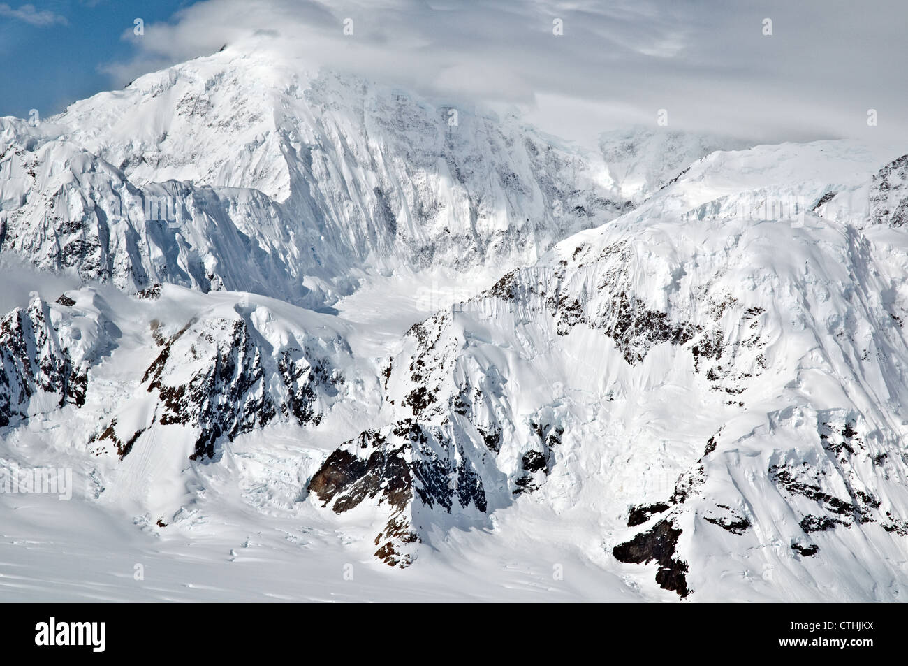 An aerial view of the Catenary Ridge on the north face of Mount Logan, Canada's highest mountain, in the St. - Stock Image