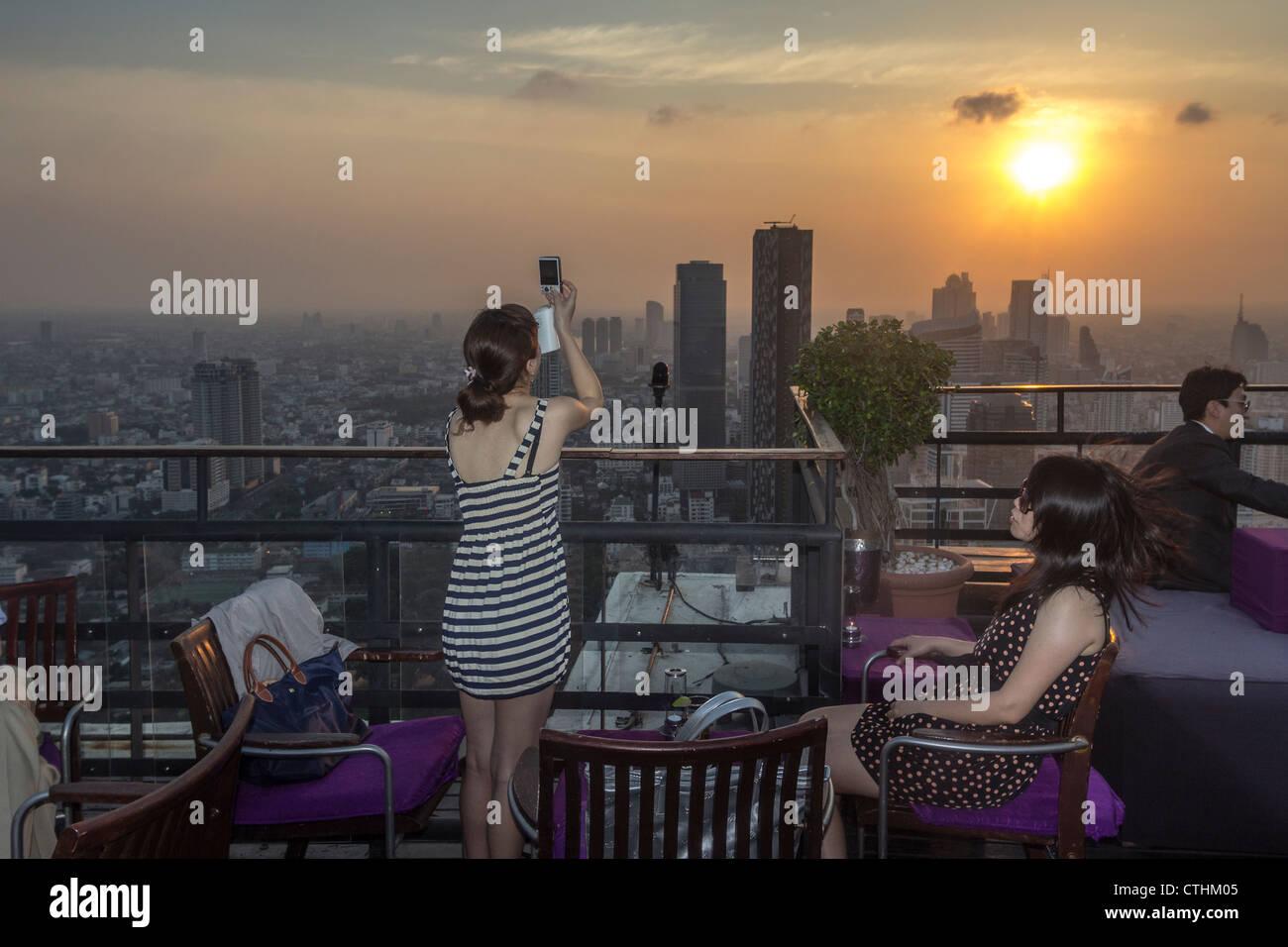 Cocktails at Banyan Tree Rooftop Vertigo & Moon Bar , Bangkok , Thailand - Stock Image