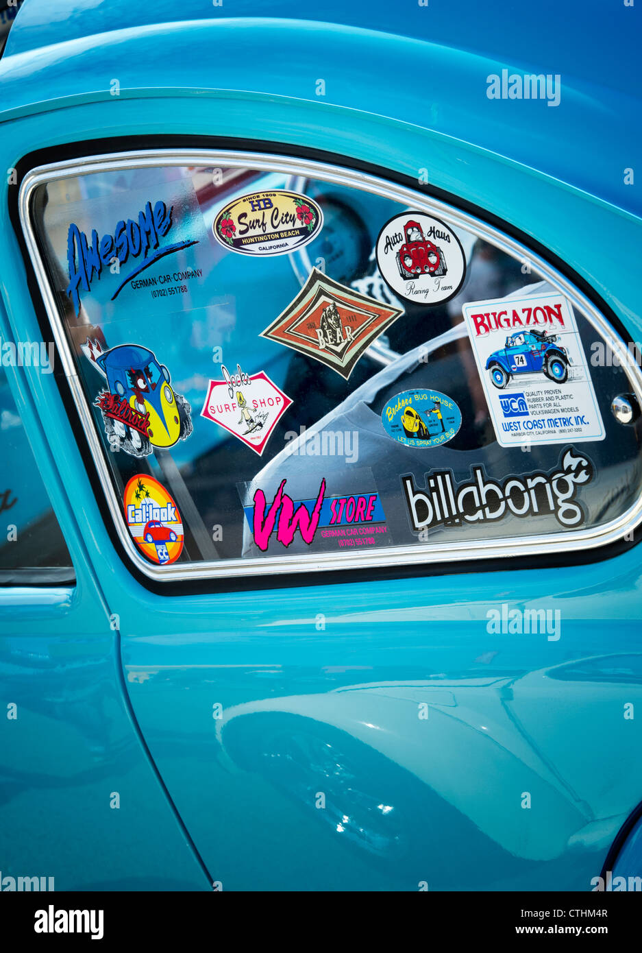 Surfing life style window stickers on an old vw beetle car stock image
