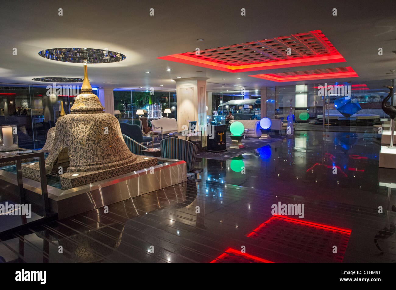 Dream Hotel, Lobby with Pagodas, Bangkok, Thailand Stock Photo