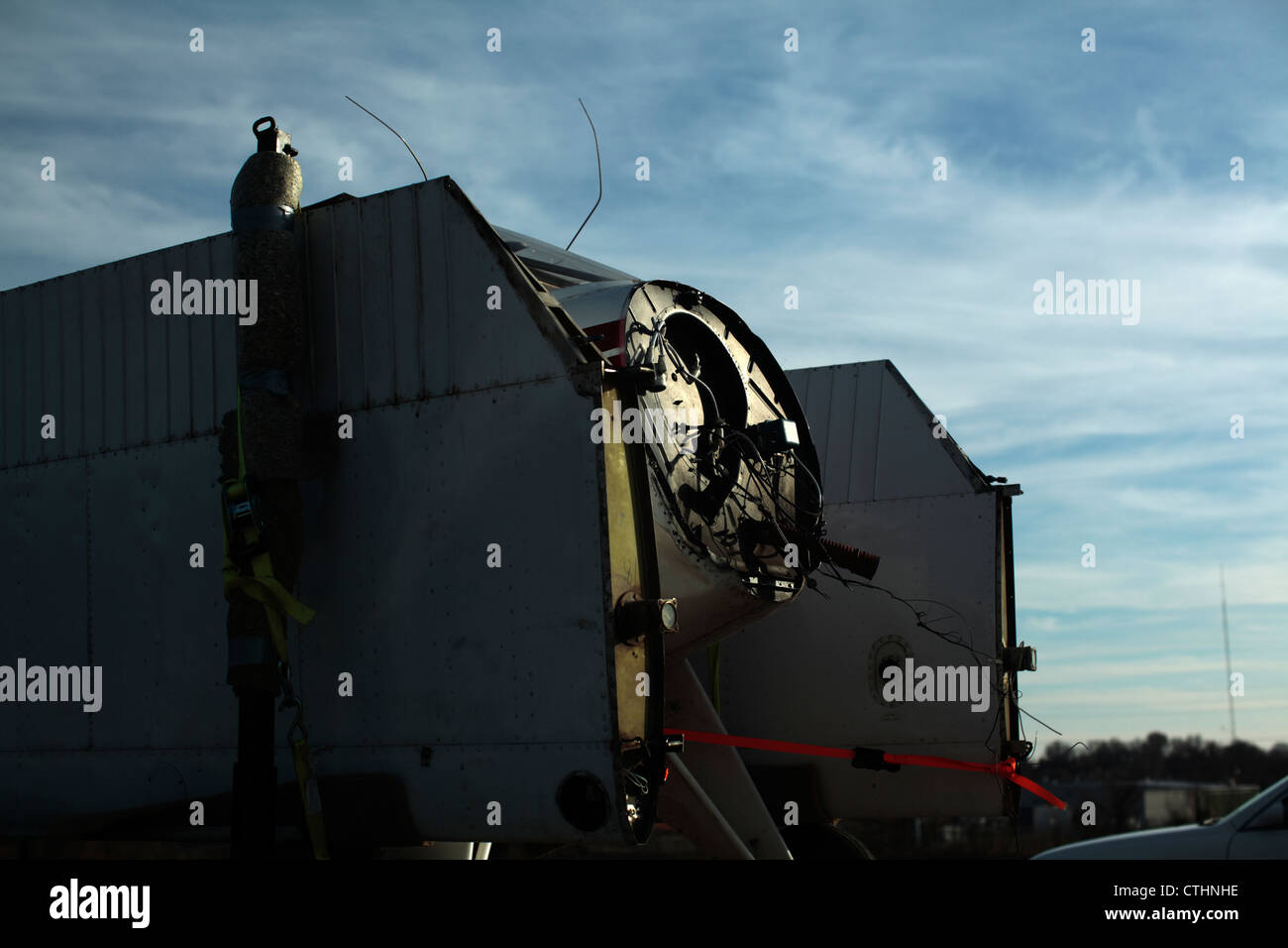 Small airplane fuselage, disassembled on truck. - Stock Image