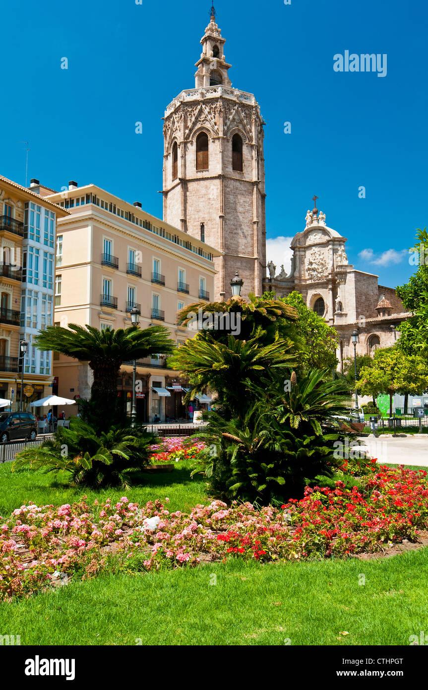 Cathedral and El Micalet or El Miguelete bell tower, Plaza de la Reina, Valencia, Spain Stock Photo