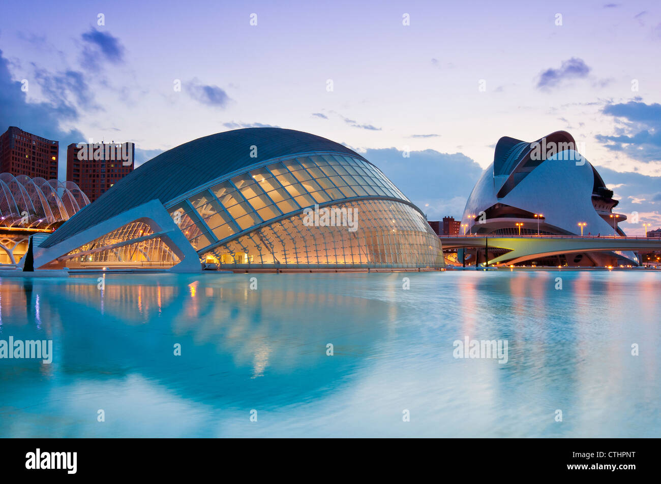 Hemisfèric Planetarium and Palau de les Arts Reina Sofia, Ciudad de las Artes y las Ciencias (City of Arts - Stock Image