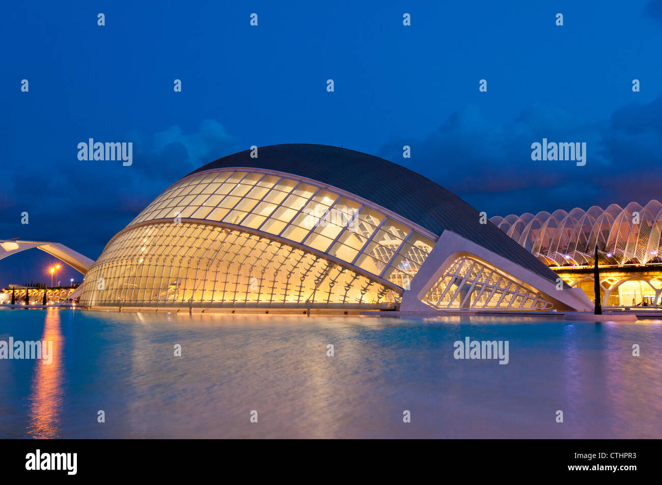 Night view of the Hemisfèric Planetarium, Ciudad de las Artes y las Ciencias (City of Arts and Sciences), Valencia, - Stock Image