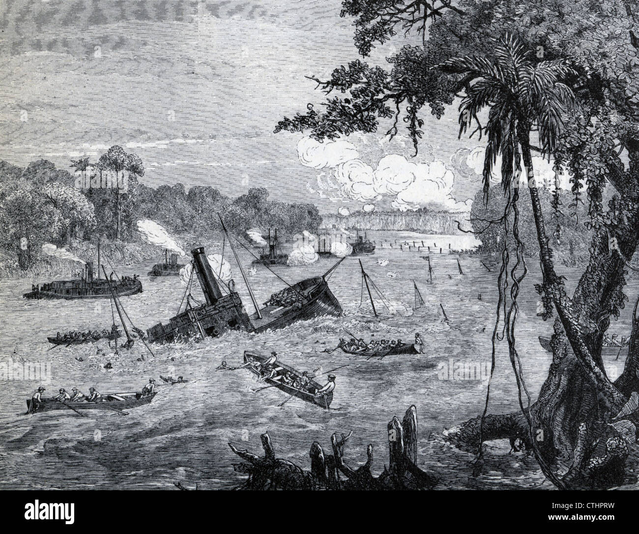 WAR OF THE TRIPLE  ALLIANCE (1864-1870) Line of Paraguyan gunboats sink a Brazilian warship and it's crew take - Stock Image