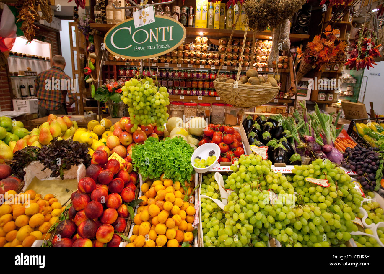 Fruit & vegetables on sale in Mercato Centrale, Florence, Italy - Stock Image
