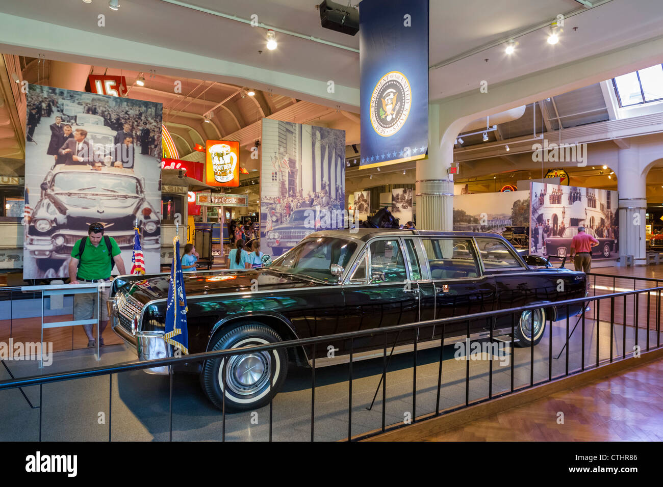The presidential limousine in which President John F Kennedy was shot, The Henry Ford Museum, Dearborn, Detroit, - Stock Image