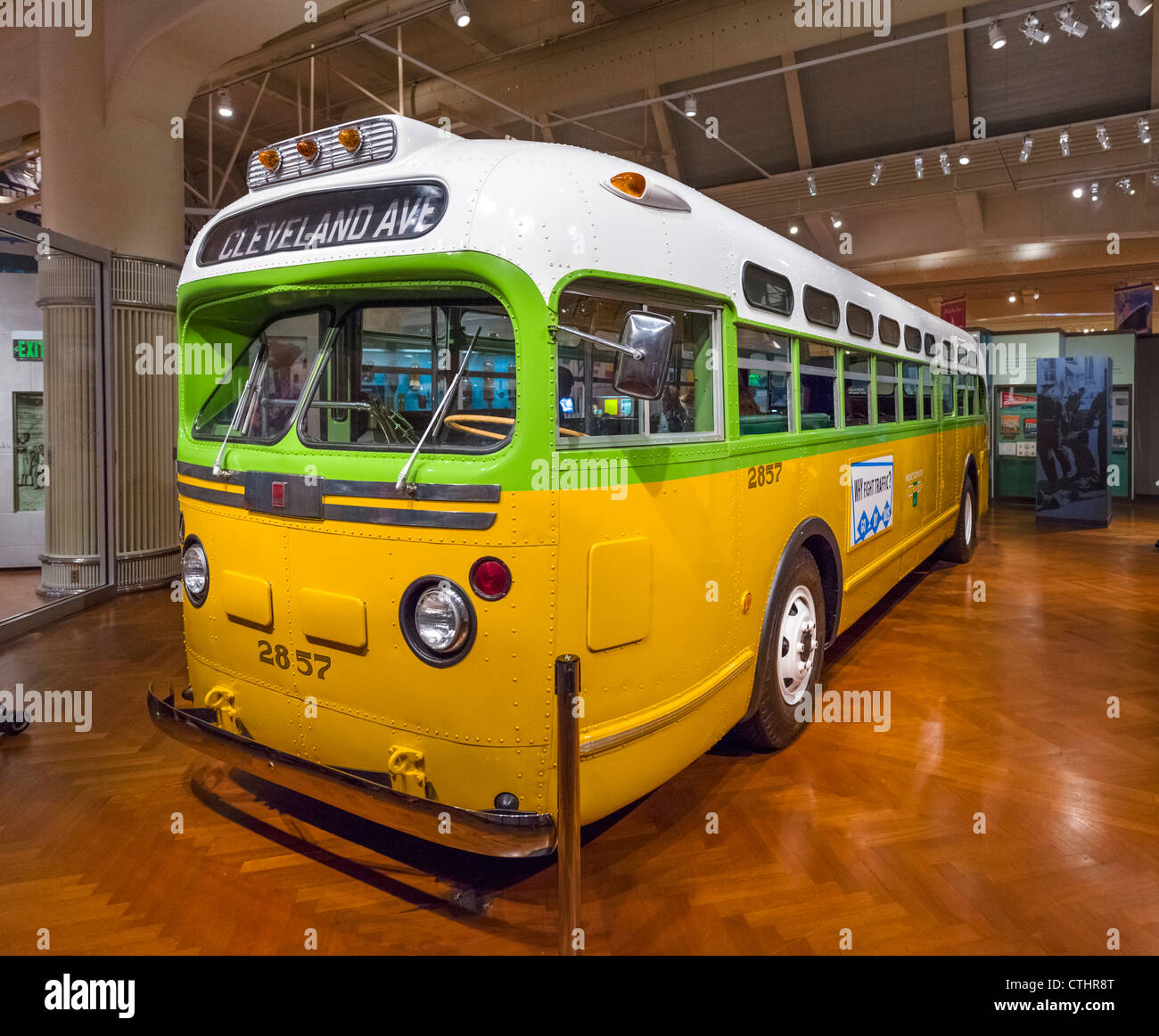 Bus on which Rosa Parks refused to give up her seat in Montgomery in 1955, Henry Ford Museum, Dearborn, Detroit, Stock Photo