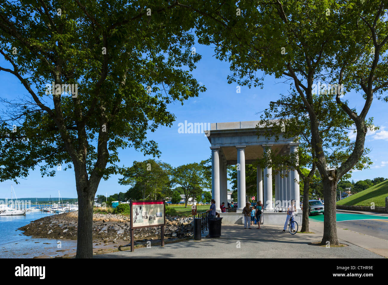 Structure housing the 'Plymouth Rock', Pilgrim Memorial State Park, Plymouth, Massachusetts, USA - Stock Image