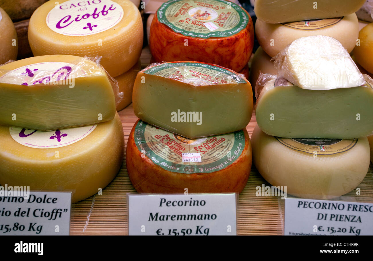 Pecorino cheese on sale in Mercato Centrale, Florence, Italy - Stock Image