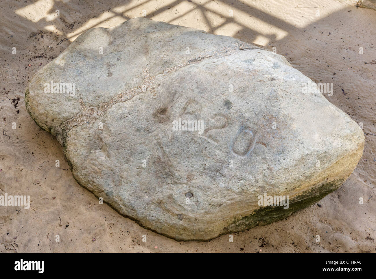The famous 'Plymouth Rock', Pilgrim Memorial State Park, Plymouth, Massachusetts, USA - Stock Image